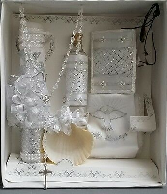 NEW Kids White BAPTISM CHRISTENING DEDICATION silver embroidered 6 pc candle set