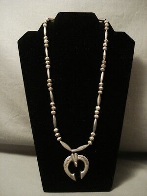 Early 1900's Vintage Navajo Hand Tooled Hogan Silver Ingot Necklace