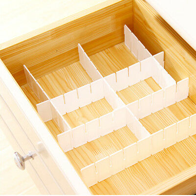 6PCS DIY Drawer Divider Plastic Grid Partitions Divider Home Storage Organizers