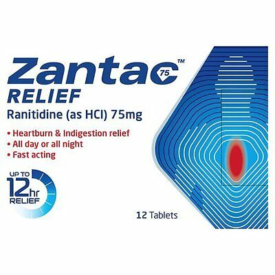 Zantac 75mg Relief, 12 Tablets Free Shipping NEW