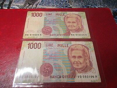 Currency - Italy - 2 X 1990 1000 Lire