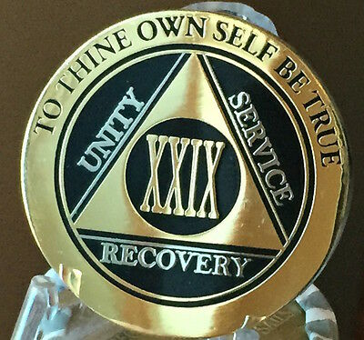 29 Year AA Medallion Black Gold Plated Bi-Plate Alcoholics Anonymous Chip Coin