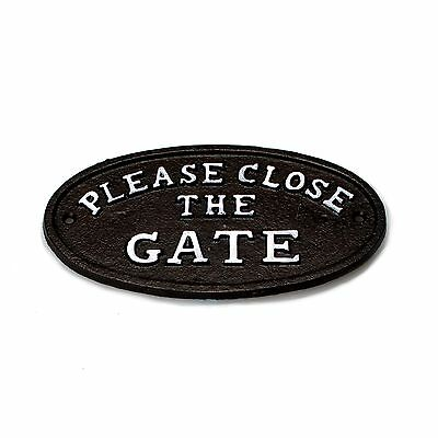 """7"""" Metal Cast Iron Oval """"CLOSE THE GATE"""" Wall Plaque"""