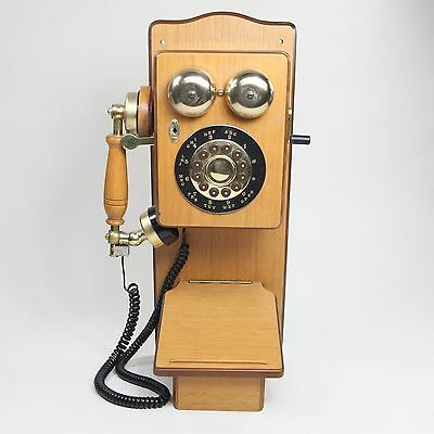 1920's Replica Wooden Wall Phone Magnasonic TS-254 Country Elite Push Button
