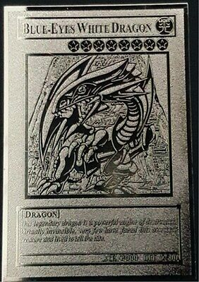 USA Seller Yugioh BLUE-EYES WHITE DRAGON English Silvery Metal Card Custom Made
