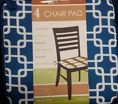 "Set of 4 KITCHEN CHAIR PADS CUSHIONS w/strings, BLUE pattern, approx. 14"" x 14"""