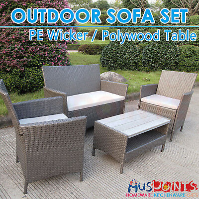 4 Piece Outdoor Sofa Set Furniture Wicker PE Rattan Garden Lounge Polywood Table
