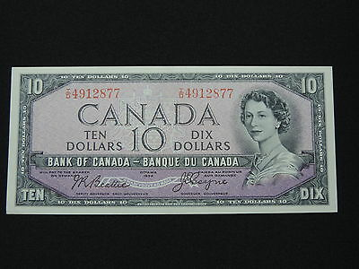 1954 $10 Dollar Bank Note Canada Devils Face I/d 4912877 Beattie - Coyne Cunc
