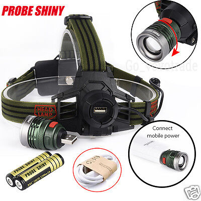 10000LM XM-L T6 LED USB Rechargeable Headlamp Headlight Head Light + 2x 18650