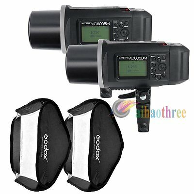 2Pcs Godox AD600BM 600W HSS 1/8000s Studio Flash Strobe Light + 80x80cm Softbox