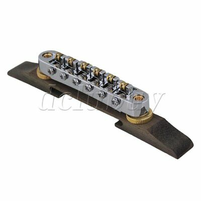 Chrome Plated Jazz Guitar Bridge with 6 Roller Saddles Rosewood Base