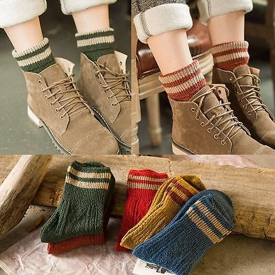 5 Pairs Women Cashmere Wool Thick Warm Socks Cute Winter Fashion Striped Design