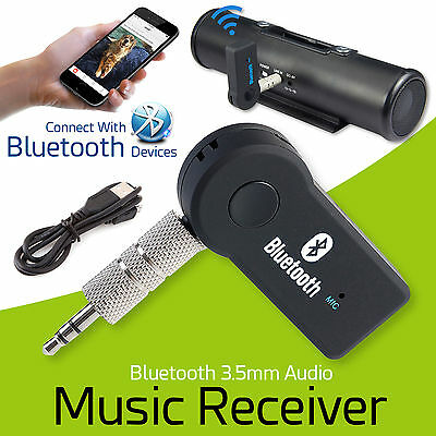 Wireless Bluetooth Music Receiver 3.5mm AUX Adapter Audio Car Stereo Hands-Free