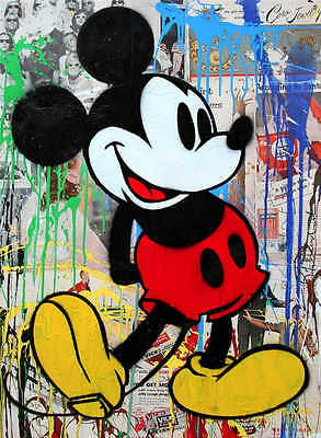 Mr Brainwash Alec Monopoly Mickey Mouse Abstract Oil Painting on Canvas 24x32""