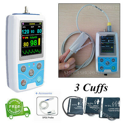 Contec PM50 24 Hours Dynamic Blood Pressure Monitor Patient Monitor+3 cuffs+SW