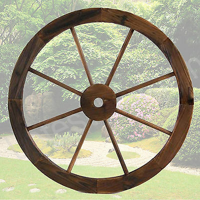 Large Wooden Outdoor Wagon Wheel Garden Decor Feature Rustic Style NEW
