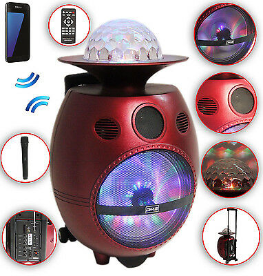 UFO Karaoke Anlage mobil Lautsprecher Trolley USB SD MP3 Wireless LED Disco DMS®