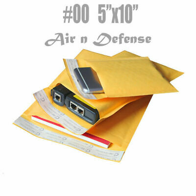 #00 5x10 KRAFT BUBBLE MAILERS PADDED ENVELOPES BAGS SELF SEAL 5 x 10 AirnDefense