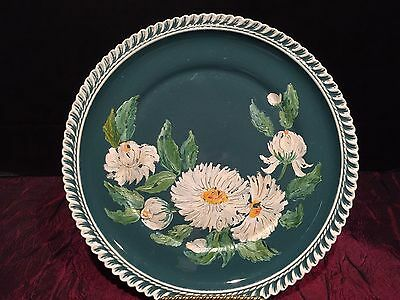 """Harker Dark Teal Green & White With Hand-painted Flowers Plate 10 1/8"""""""