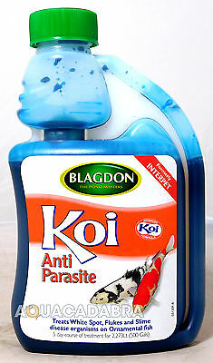 BLAGDON KOI ANTI-PARASITE 250ml TREATS WHITE SPOT FLUKE SLIME DISEASE TREATMENT