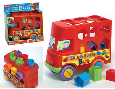 Shape Sorter Sorting Bus Baby Toddler Activity Push Along Toy Childrens kid New