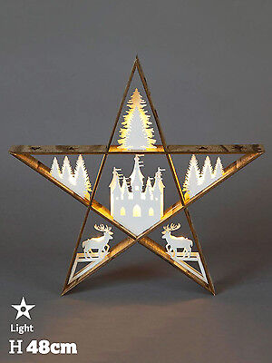 Wooden Christmas Star Decoration Light Up LED Woodland Table Top 48cm Natural
