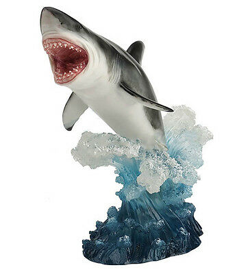 "14"" Leaping Great White Shark Figurine Ocean Sea Nautical Animal Jaws Statue"