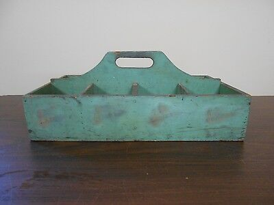Antique Primitive Wood Wooden Tote With Old Green Paint