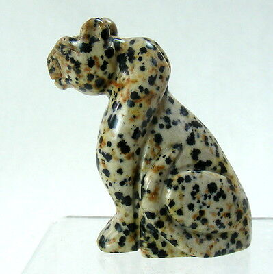 Large Leopard Dalmatian Agate Gemstone Hand Carved Ornament Animal Carving 6cm