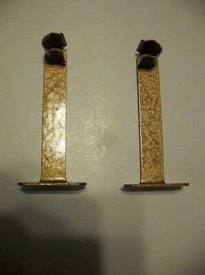 Vintage Hammered COPPER Painted Steel Cafe Style CURTAIN Rod Sash Brackets