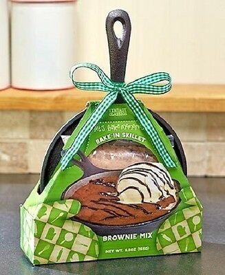 Vintage Classics Cast Iron Skillet w/ Baking Mix BROWNIE