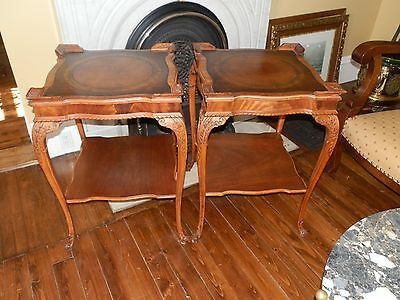 Gorgeous Pair Of Antique Leather Top Bedside/End Tables Lamp Tables