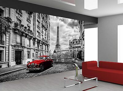 Black And White Citie Paris Red Car Wall Mural Photo Wallpaper GIANT WALL DECOR