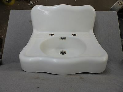 Antique Cast Iron Scalloped Serpentin White Porcelain Vtg Bathroom Sink 1866-16