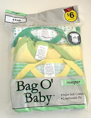 4 PK Bag O BABY Onesies ROMPER 3-6  6-9 mths 9-12 mths Green PINK YELLOW CHOOSE
