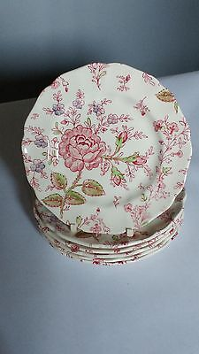 """Johnson Brothers MADE IN ENGLAND Rose Chintz Set of 6 6 1/4"""" Bread Butter Plates"""
