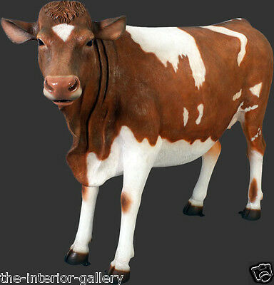 Cow Statue - Life Size Cow Statue - Guernsey Cow Life Size - Brown & White Cow