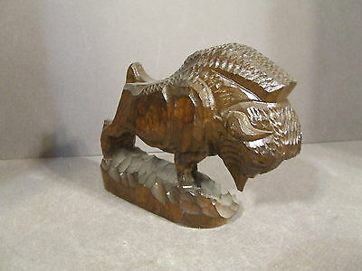 Vintage Hand Carved Wooden Buffalo Bison Figurine Statue