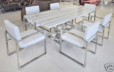 Dining Table - Modern Dining Room Table - Marble Table - Uscio IV - White Lines