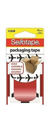 Sellotape 48Mm X 20M Clear Packaging Tape Aeroplane Print X 4 New