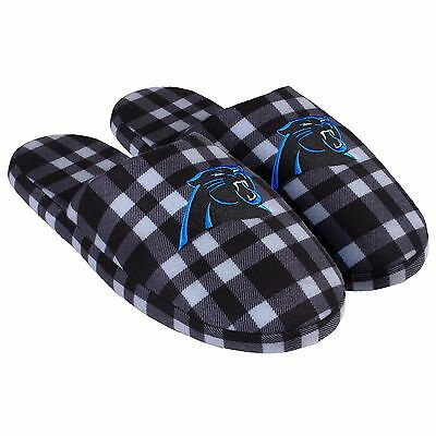 Pair of Carolina Panthers Flannel Logo Slippers NEW - Plaid - House shoes!