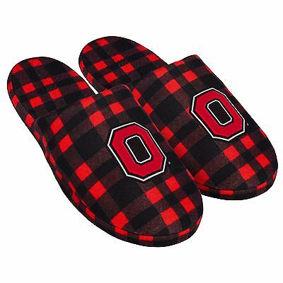 Pair of Ohio State Buckeyes Flannel Logo Slippers NEW - Plaid - House shoes!