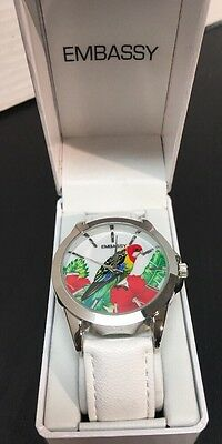 Women's Round Watch White Band Silver Tone Face Tropical Bird New!