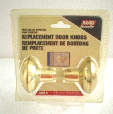 NEW Door Knobs Set Spindle Interior Polished Brass Plated Mag Security 8869B