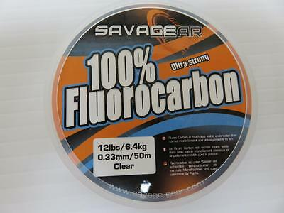 Savage Gear Ultra Fuerte 100% Fluorocarbono 50m 5.4 kg dia 0.33 Sedal
