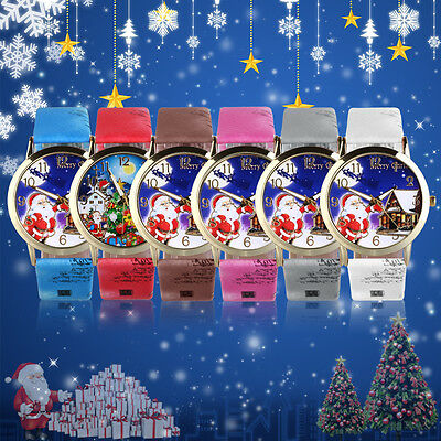 Santa Claus Pattern Dial Unisex Casual PU Leather Wrist Watches For Christmas GT