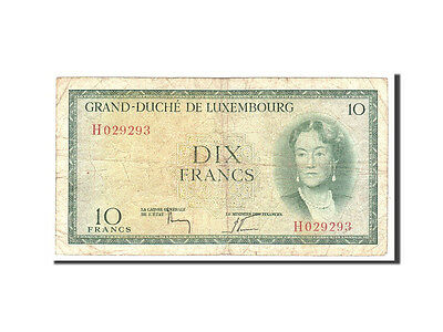 Luxembourg, 10 Francs, 1954, KM:48a, Undated, VF(20-25)