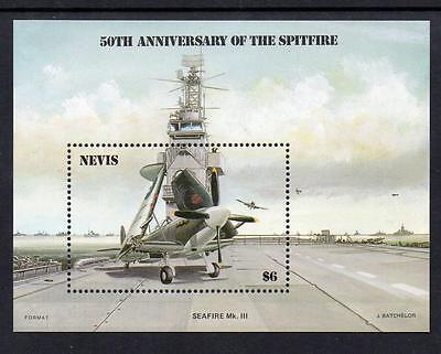 Nevis MNH 1986 The 50th Anniversary of Spitfire M/S