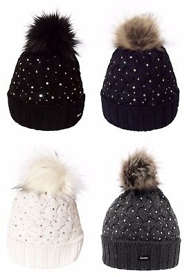 aba2b31e6e7 NEW- EISBAR ALICE LUX CRYSTAL with FAUX FUR POMPON Winter Ski Hat