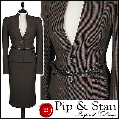 New Next Uk10/8 Us6/4 Brown Pencil Skirt Suit 50S Inspired Hourglass Women  Size